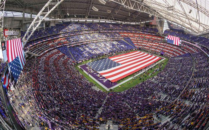 Download wallpapers Minnesota Vikings, US Bank Stadium, Minneapolis, Minnesota, National Football League, NFL, sports arena, USA