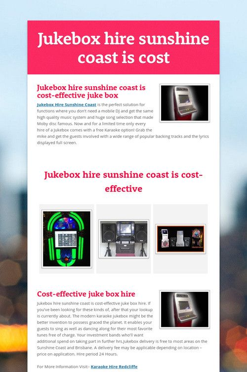 Jukebox hire sunshine coast is cost