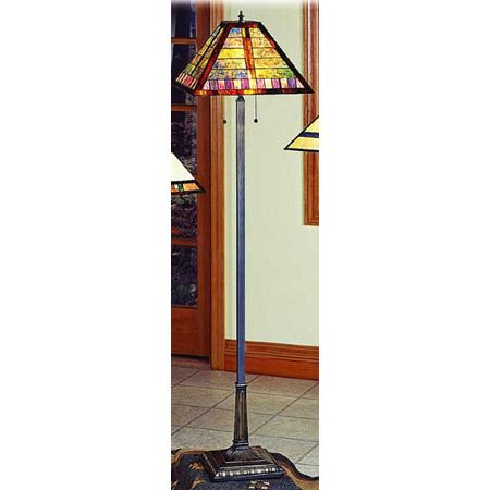 Multicolored stained glass craftsman floor lamp.