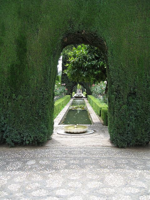Generalife gardens of the Alhambra. The gardens and hedges were so beautiful and there were soooo many...Michelle