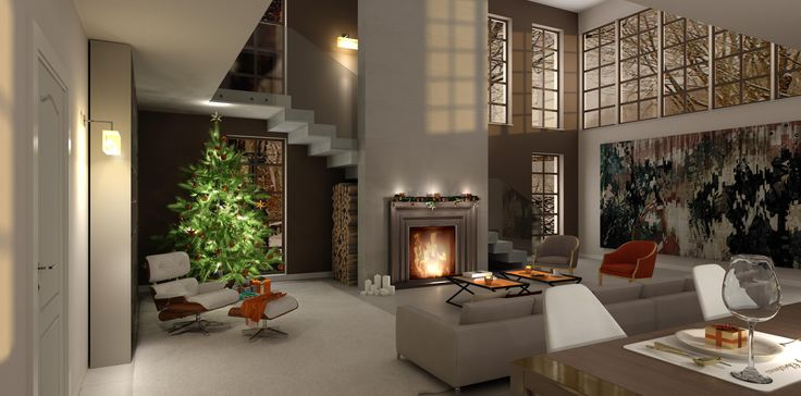 Christmas living room, virtual image, rendered with DomuS3D and mental ray