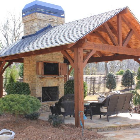 Backyard Pavilion Designs awesome outdoor pavilion plans at the backyard with outdoor kitchen design plus dining seat and green Outdoor Pavilions Design Ideas Pictures Remodel And Decor Page 18 Pavillion W Fireplace Pinterest Fireplaces Pictures And Design