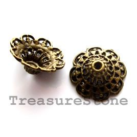 Bead cap, antiqued brass finished, 8x14mm. #TreasureStone Beads Edmonton. www.TreasureStoneBeads.com