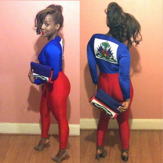 Haiti Flag Stretch Bodysuit Romper Haitian by RavishingCreations