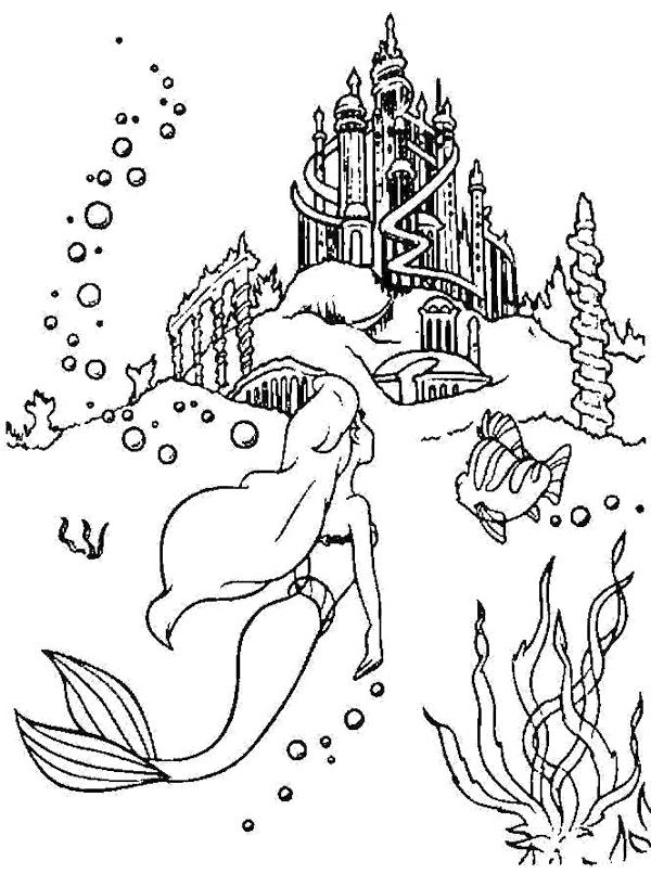 Palace princess ariel coloring page