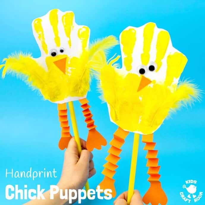 DIY Craft: Handprint Chick Puppets are a great Spring craft or Easter craft for kids. This chick craft looks super cute and kids can actually play with them too! Such a fun handprint craft to encourage dramatic play and story telling.