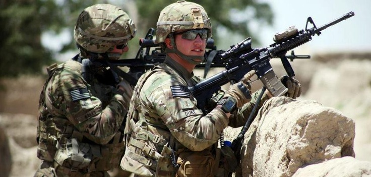 Soldiers with 4th Infantry Brigade Combat Team, 1st Infantry Division, provide security in Paktika Province, Afghanistan, June 19 during Operation Blue Jay. Photo by Spc. David Barnes