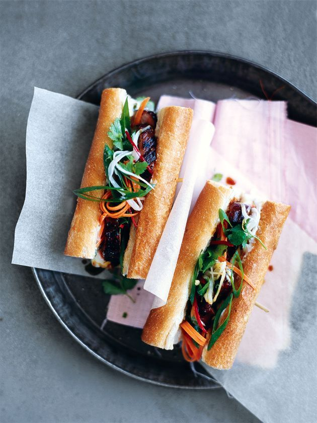 vietnamese rolls with caramelised pork and picked veggies and a chive mayo