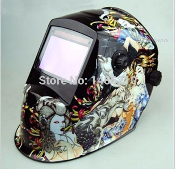 (146.64$)  Watch more here  - Flame skeleton  Auto Darkening Welding Helmet for ARC MAG MIG TIG Welder Helmet welder cap Chrome polished favourable comment