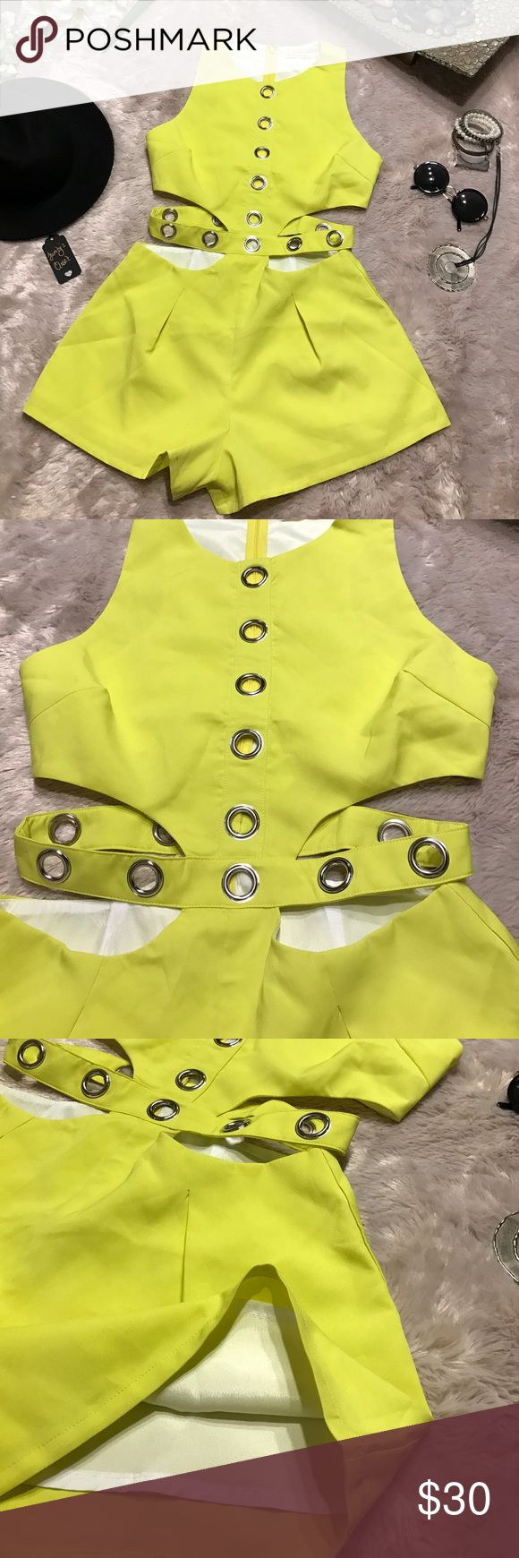 Flirty romper Neon yellow Mustard Seed romper with cutout details Mustard Seed Shorts