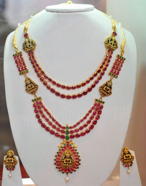 Antique simple double row ruby short necklace and medium length 3 rows ruby haram with nakshi concept, paired up with nakshi earrings.