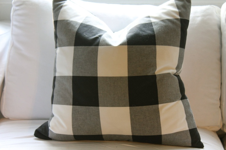 Buffalo Check Black White Large Gingham Pillow Cover 20