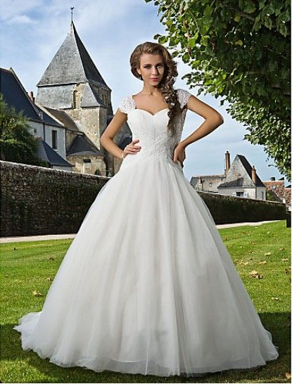 Beautiful Ball Gown Sweetheart Chapel Train Tulle #Wedding Dress WBG08658-LT
