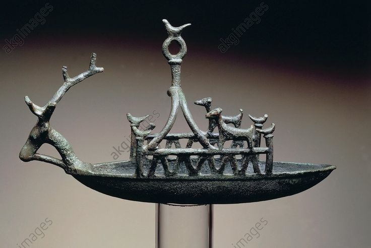 SHIP WITH DEER-SHAPED PROTOME, BRONZE, NURAGIC CIVILIZATION. Ship with a deer-shaped protome, bronze. Nuragic civilisation. Cagliari, Museo Archeologico Nazionale (Archaeological Museum)