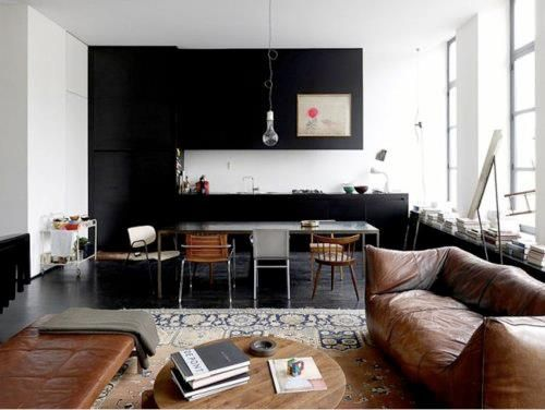 Hipster home: black cabinets, warm + worn leather + found pieces on a white palette