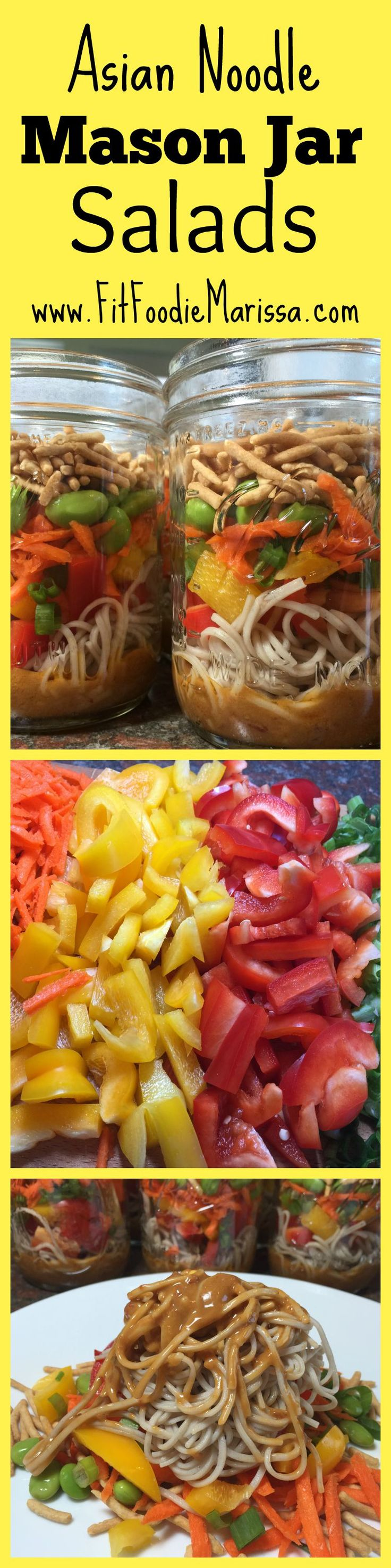 Tasty Asian Noodle Mason Jar Salad. Makes a total of 8 pint glasses! Perfect lunch item. www.fitfoodiemarissa.com