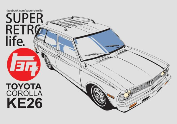 toyota 70s style car illustrations esos autos locos pinterest voitures behance et. Black Bedroom Furniture Sets. Home Design Ideas