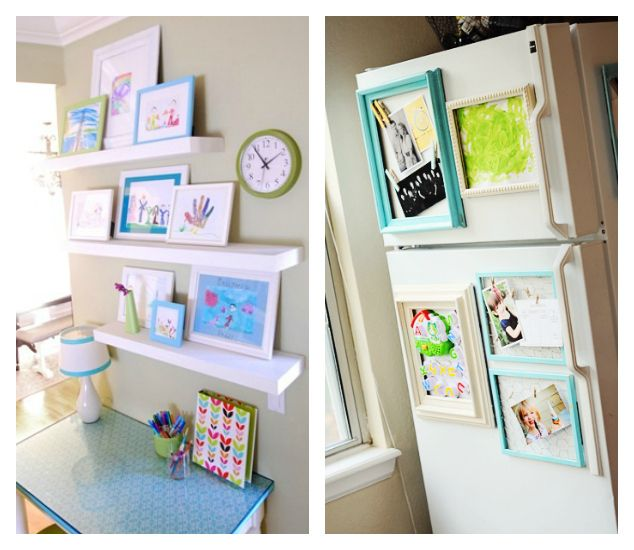 21 Ways to Display Kids Artwork - Art ledges and magnetic frames