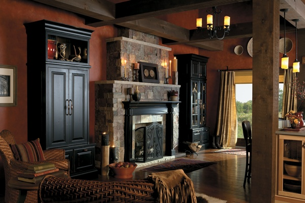 beautiful lodge style hutch and fireplace from medallion cabinetry mantels and fireplace. Black Bedroom Furniture Sets. Home Design Ideas