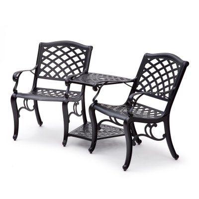 Suntime Outdoor Living Black Aluminum Outdoor Tete-a-Tete ... on Suntime Outdoor Living id=34527