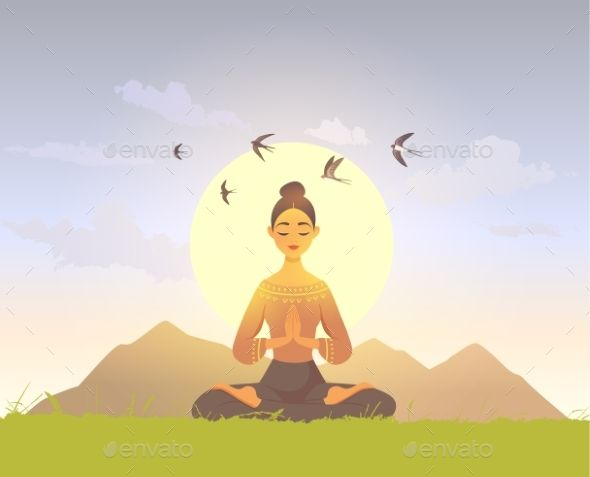 Meditation Girl Nature Meditation Art Nature Girl Yoga Cartoon