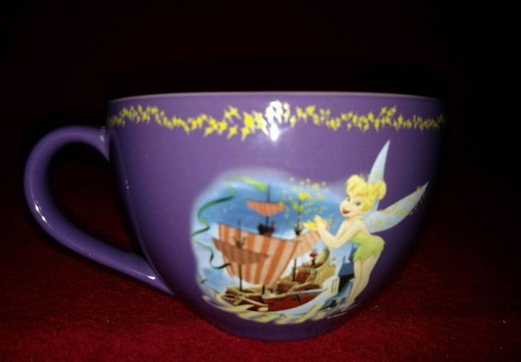 Disney Store~Tinkerbell/Tink Oversized Purple Coffee Cup/Soup Mug/Pirate Ship