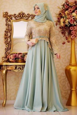 Gamze Polat Mint Safir Tesettür Abiye Elbise