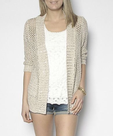 Open stitch cardigan with sequins