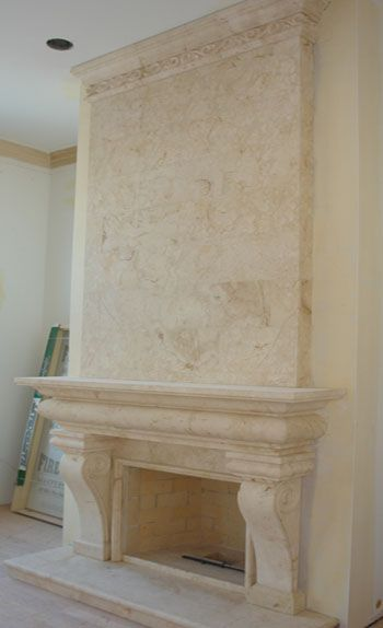 Stone Overmantel Fireplace - Marble - Cast Stone Surrounds - Limestone Upper