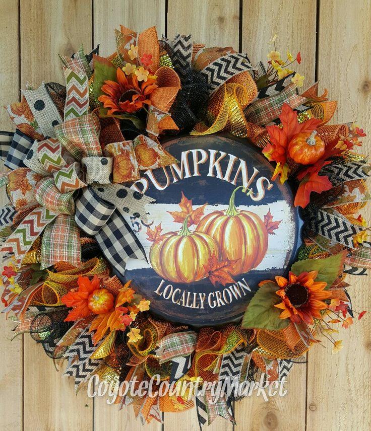 Autumn Pumpkin Mesh Wreath, Fall Door Wreath, Fall Decor, Pumpkin Wreath, Front…