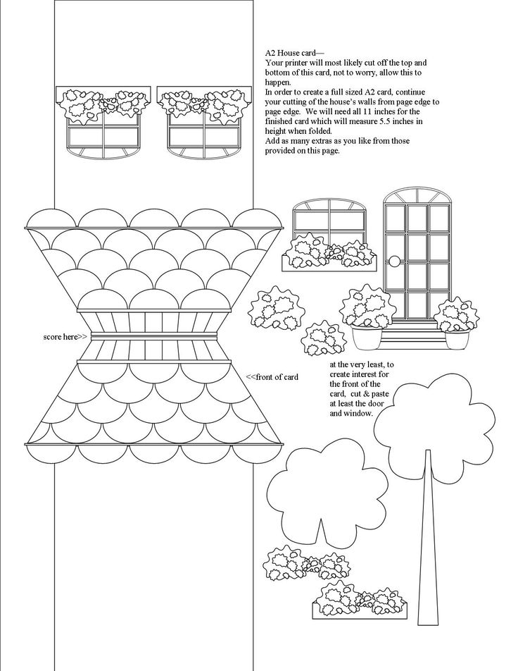 """A2 sized (note card 4.25"""" x 5.5"""") House Card. Print this one on plain white card stock.  I recommend using a good colouring pencil to add colour, like Bruynzeel.  Just a touch of colour here and there on the house, and accessories speeds up the project.  Or spend all afternoon colouring, cutting, layering to your heart's content."""