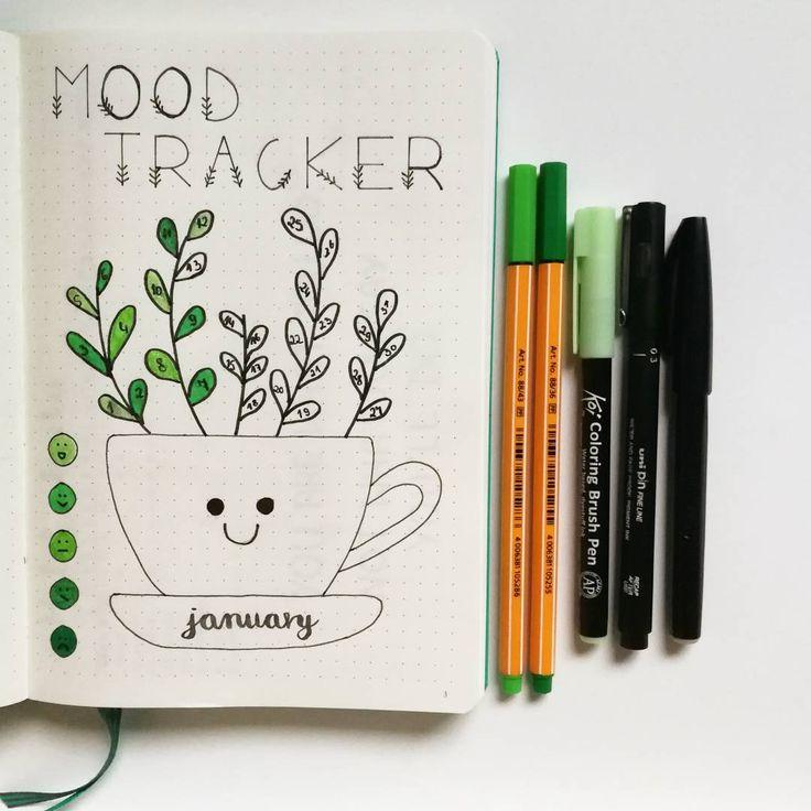 Bullet journal mood tracker, plant drawing, cute bullet journal layout. | @poli.bujo