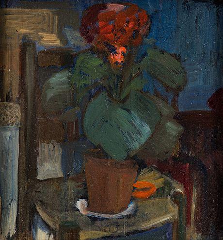 ROLAND SVENSSON Olja på duk på pannå, osignerad. Daterad 1935 á tergo.  Stilleben med krukväxt på stol. 34 x 33 cm.
