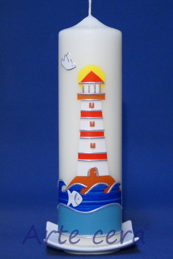 Taufkerze Leuchtturm 25x7 , Kerzen , #284827 - vondir.de