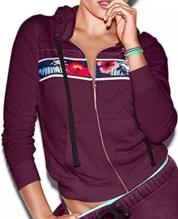 e90d44c9c Victoria's Secret PINK Hoodie Tropical Floral Full Zip Black Orchid Maroon,  XSmall at Amazon Women's Clothing store: