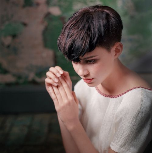 lady with pixie hair