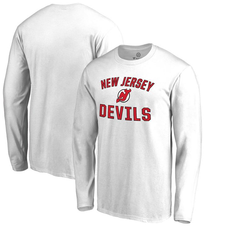 New Jersey Devils Fanatics Branded Big & Tall Victory Arch Long Sleeve T-Shirt - White