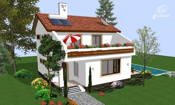 Proiecte de case cu etaj sub 150 de metri patrati - aer mediteranean