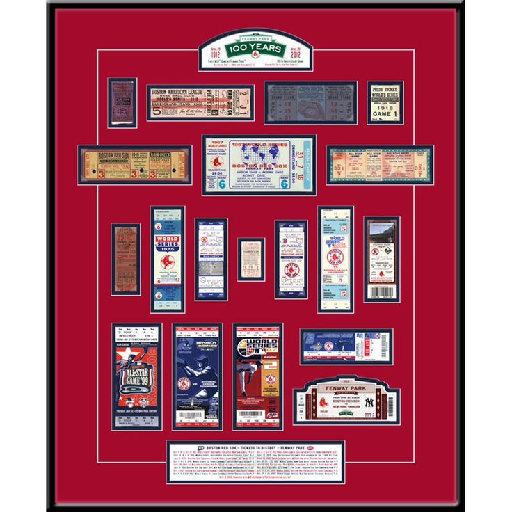 "Boston Red Sox 22"" x 18"" x 3/4"" Fenway Park 100th Anniversary Tickets To History Framed Print"