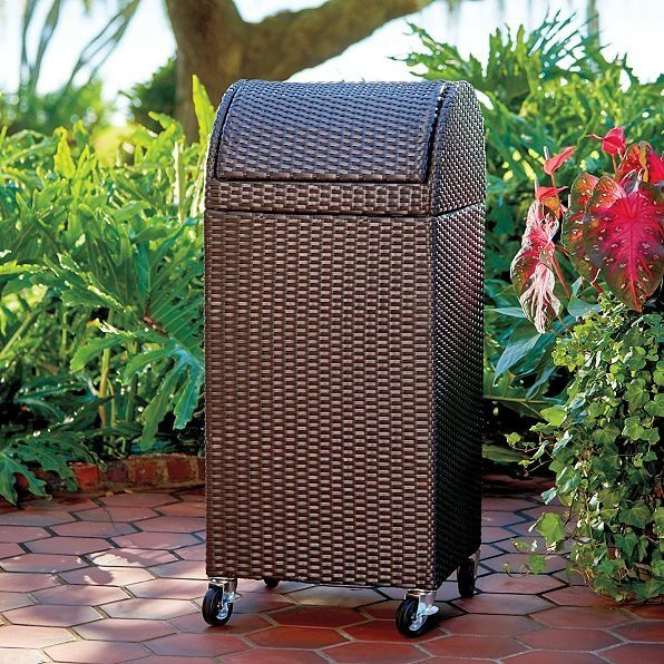 Who says outdoor trash cans have to be ugly? This all-weather outdoor trash can looks as inviting as any other outdoor furniture piece and can be rolled around where you need it.