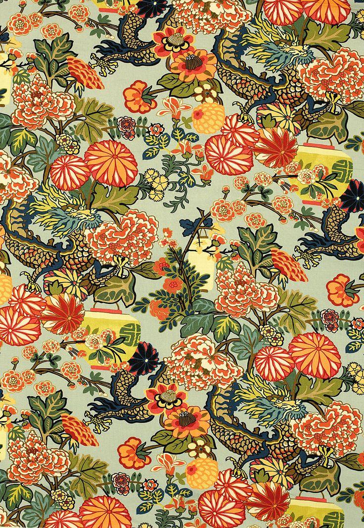 Dragons: Chiangmai, Floral Patterns, Living Rooms, Mai Dragon, Dragon Fabrics, Schumacher Chiang, Chiang Mai, Aquamarine, Pillows