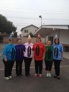 Team teachers dressed up as crayons!