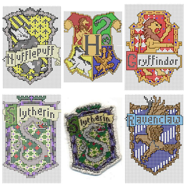 DIY Cross Stitch Charts for Hogwart Houses by Ronjaliek on Deviantart. Do you know someone who loves anything Harry Potter? Ronjaliek links the finished patches in each post. Top Row: Hufflepuff,...