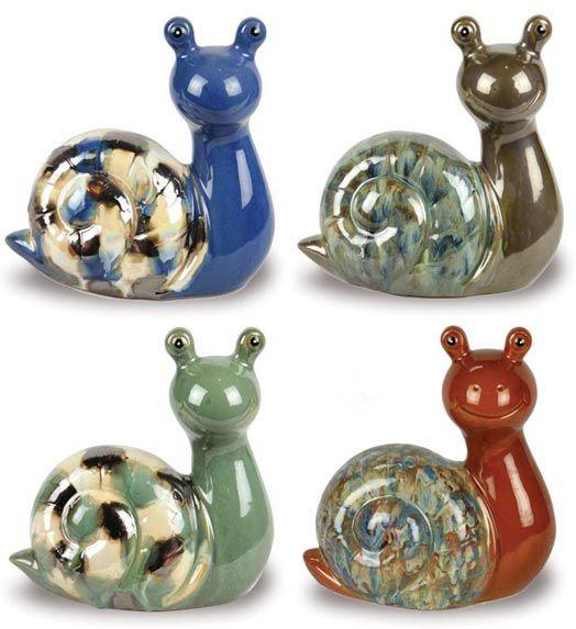 Small Glazed Garden Snails Amp Garden Decor Animal Pots