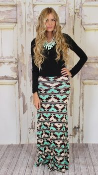tribal maxi skirt Modern Vintage Boutique