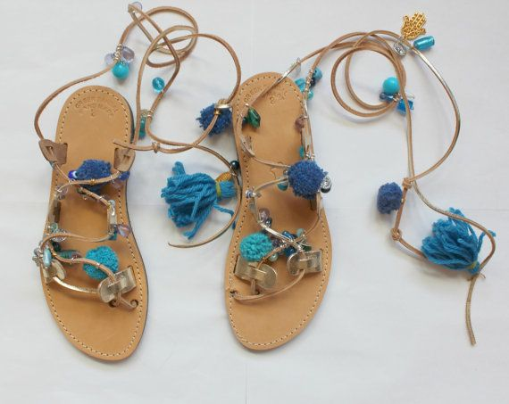 These wrap-around leather sandals have perfectly placed strap loops to ensure a secure fit. Very flattering fit.  *Ties at ankle *Handmade 100% *Genuine
