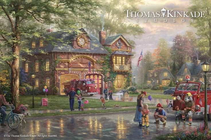 "Introducing ""Hometown Firehouse"" from the Thomas Kinkade studios! ""There is no greater love than to lay down one's life for one's friends,"" let alone a stranger, a divine truism symbolic of the foundational bonds that link our nation. Thomas Kinkade Studios is honored to recognize the heroic firefighters portrayed in the newest painting – ""Hometown Firehouse"". Learn more: https://thomaskinkade.com/shop/new-art-gifts-collectibles/hometown-firehouse-limited-edition-art/?ref=13"