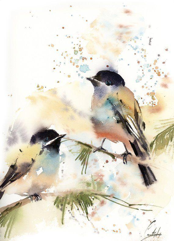 Bunte Vogel Paar Aquarell Malen Ursprungliche Aquarell
