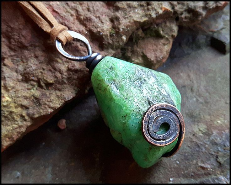 Chrysoprase Necklace, Symbol of prosperity, Wiccan Necklace, Chrysoprase pendant, Symbol of Love, Natural Stone Necklace, by WitchTools on Etsy