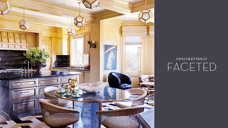 Meet the New Lighting Trend That's Fascinatingly Faceted // Modern facet lamps and chandeliers: Bel Air, Kitchens Design, Living Rooms, Vintage Chic, Contemporary Kitchens, Kelly Wearstler, Architecture Digest, Vintage Home Decor, Decoraci N Vintage